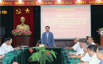 Ủy ban Dân tộc: Gặp mặt Đoàn đại biểu nguyên lãnh đạo tỉnh Nghệ An