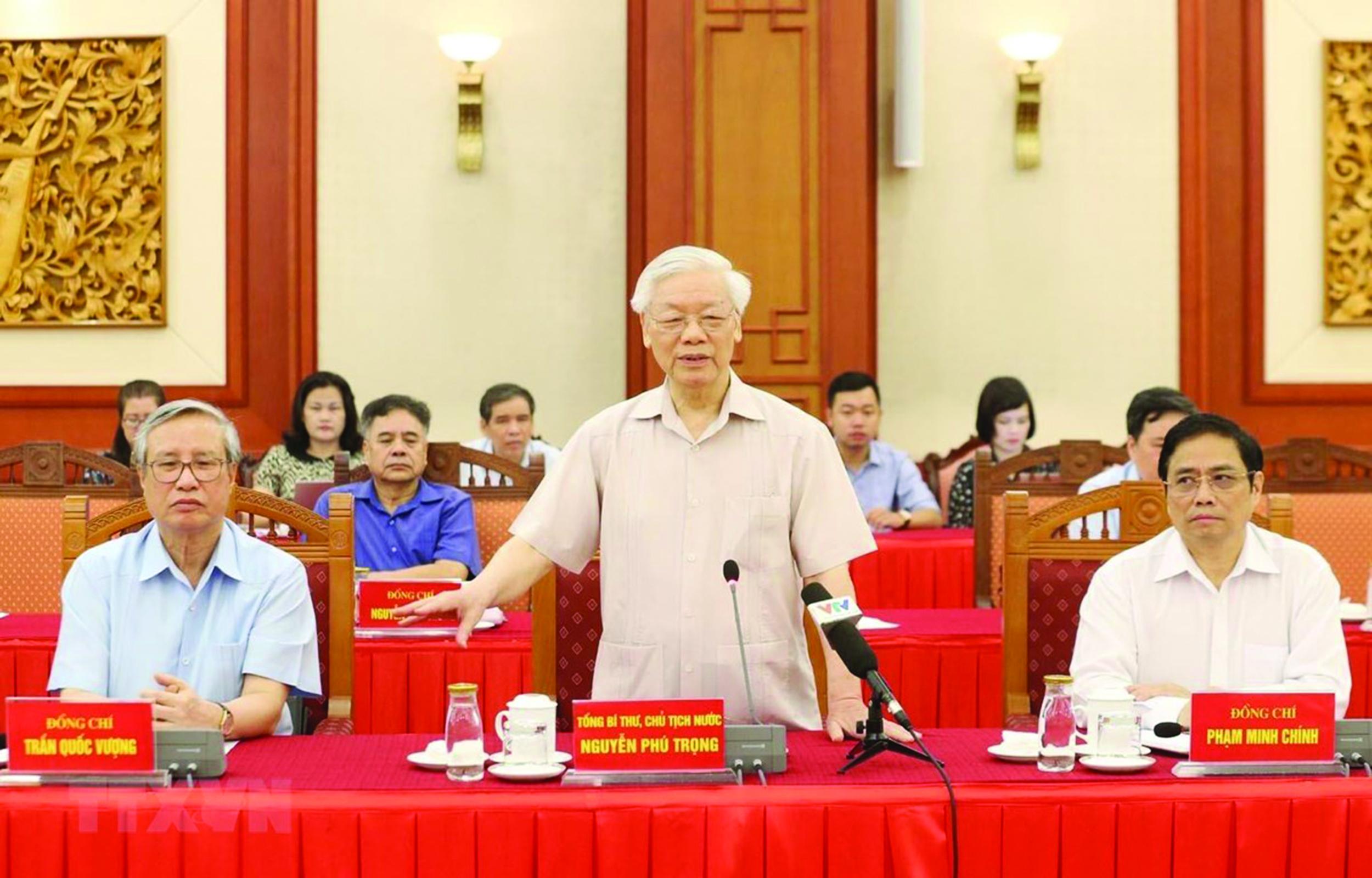 Tổng Bí thư, Chủ tịch nước Nguyễn Phú Trọng, Trưởng Tiểu ban Văn kiện Đại hội XIII của Đảng phát biểu khai mạc Hội nghị. (Ảnh: Phương Hoa/TTXVN)