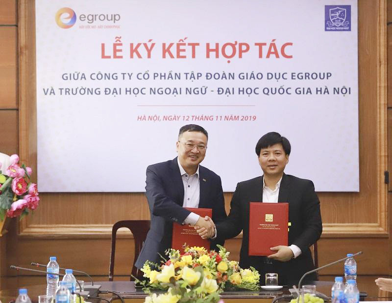 Công ty Cổ phần Tập đoàn Giáo dục Egroup và Trường Đại học Ngoại ngữ - Đại học Quốc gia Hà Nội ký kết Thỏa thuận hợp tác tạo cơ hội việc làm tốt cho sinh viên sư phạm