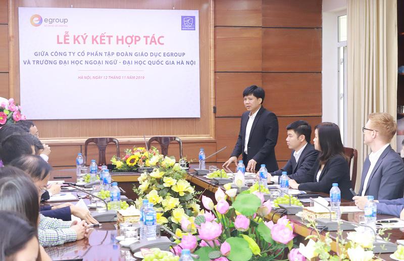Ông Nguyễn Ngọc Thủy - Chủ tịch Hội đồng Quản trị Công ty Cổ phần Tập đoàn Giáo dục Egroup đánh giá cao sự hợp tác và mong muốn cùng chung tay tham gia đào tạo thế hệ trẻ Việt Nam