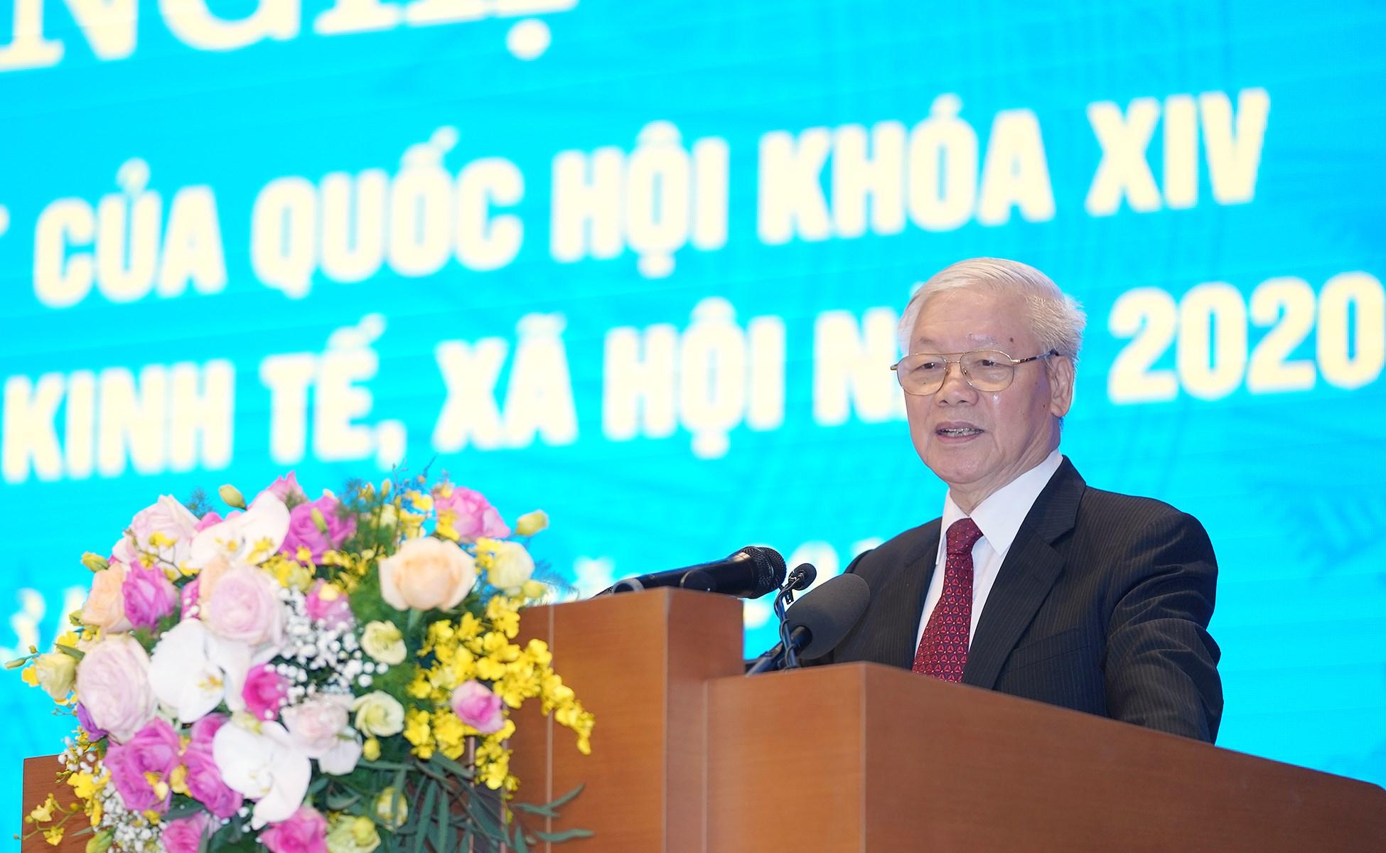 Tổng Bí thư, Chủ tịch nước Nguyễn Phú Trọng phát biểu tại Hội nghị trực tuyến Chính phủ với các địa phương về phát triển kinh tế - xã hội năm 2020