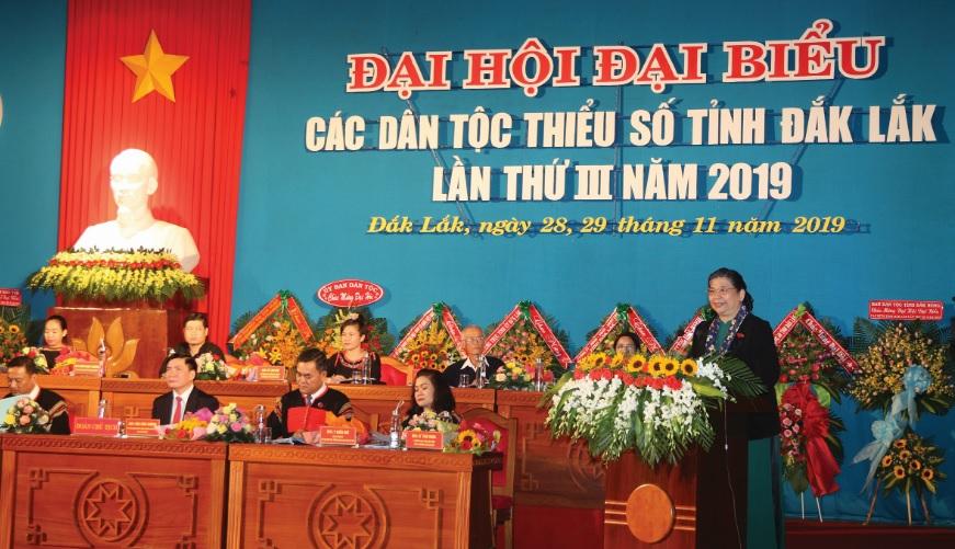 Phó Chủ tịch Thường trực Quốc hội Tòng Thị Phóng, phát biểu tại Đại hội.