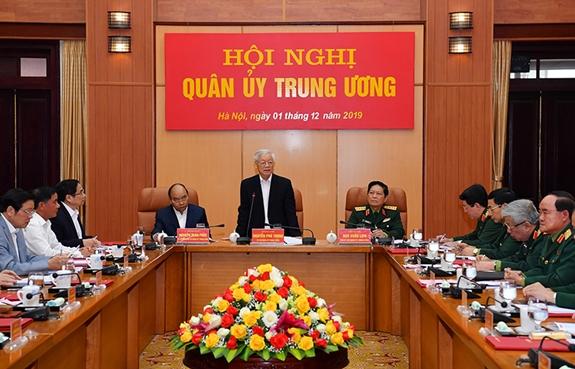 Tổng Bí thư, Chủ tịch nước Nguyễn Phú Trọng, Bí thư Quân ủy Trung ương phát biểu tại Hội nghị. Ảnh: QĐND