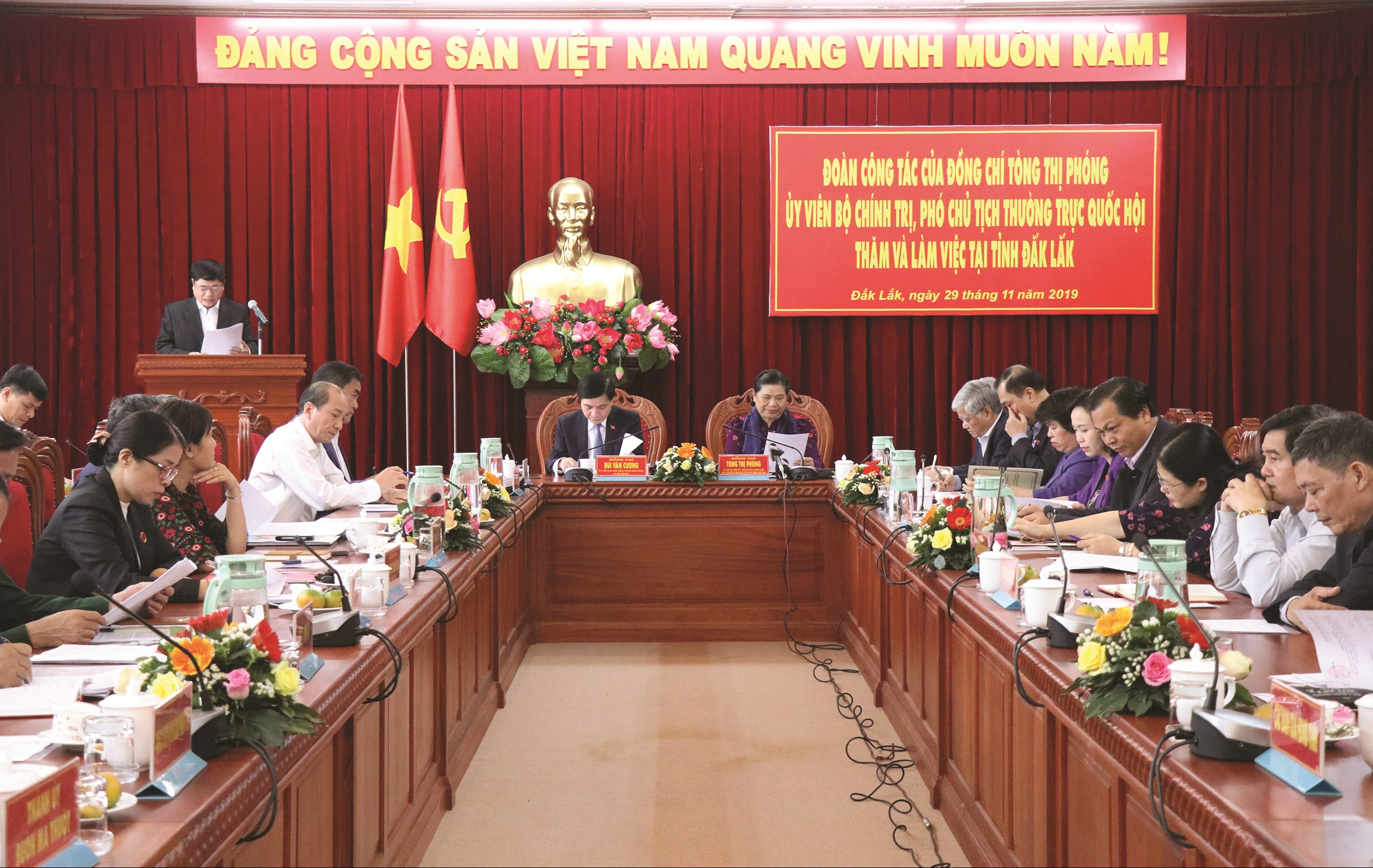 Phó Chủ tịch Thường trực Quốc hội Tòng Thị Phóng làm việc với Ban Thường vụ tỉnh Đăk Lăk