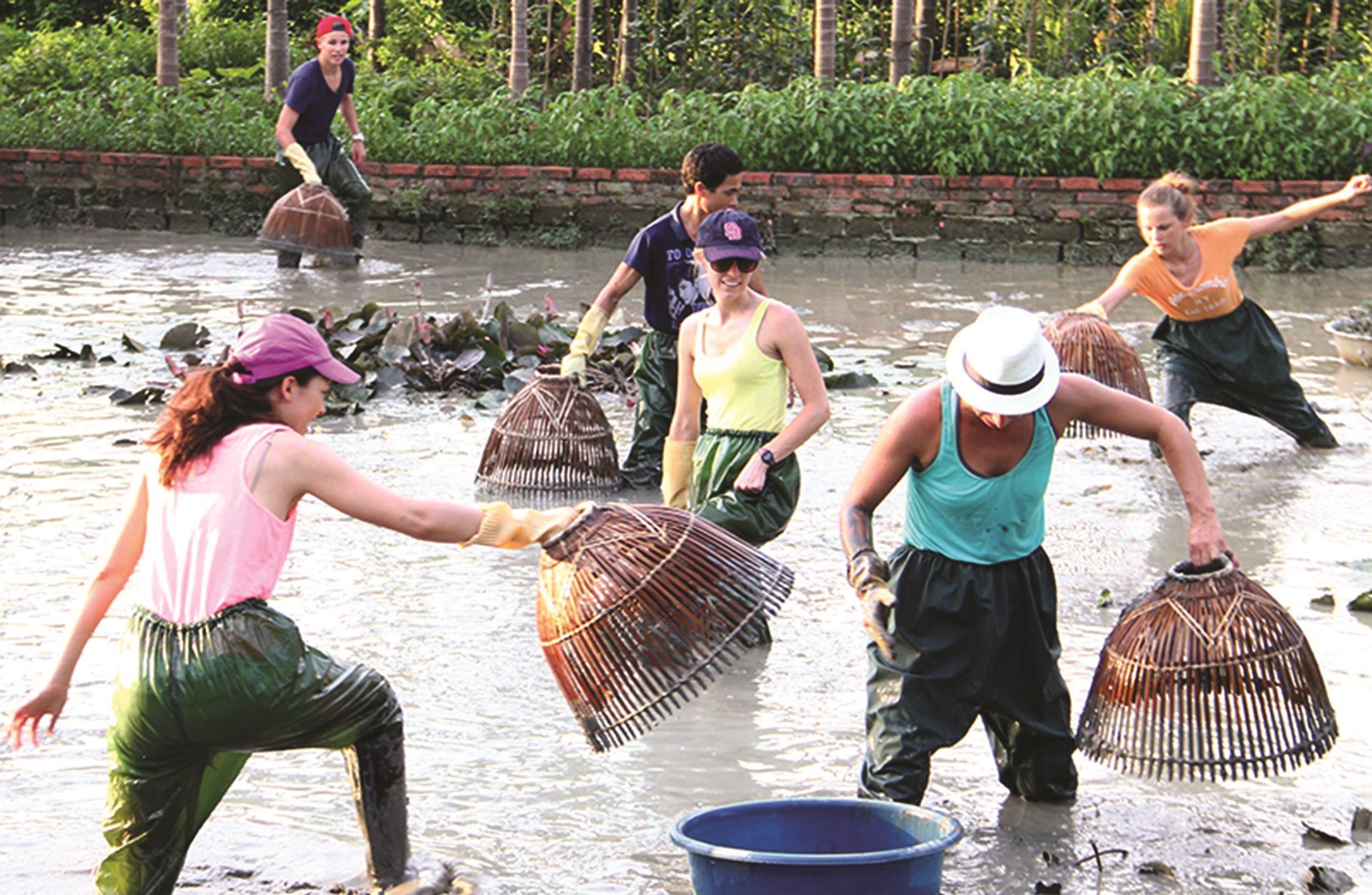 Khách du lịch trải nghiệm đánh bắt cá bằng nơm tại Khu du lịch làng quê Yên Đức (Đông Triều, Quảng Ninh)