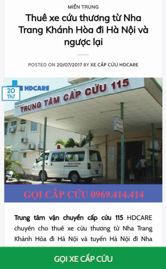 Trung tâm Vận chuyển cấp cứu 115 HDCARE dùng tất cả hình ảnh, trụ sở, bác sĩ của BVĐK Khánh Hòa để quảng cáo và giới thiệu đến bệnh nhân
