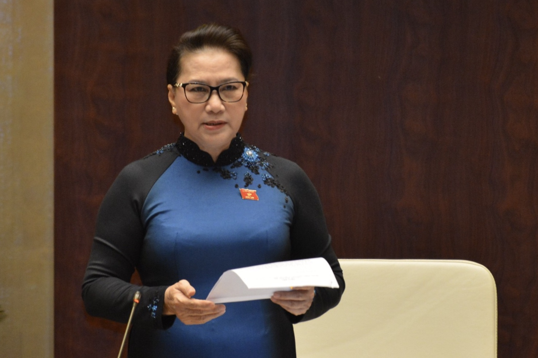 Chủ tịch Quốc hội Nguyễn Thị Kim Ngân phát biểu tại phiên chất vấn.