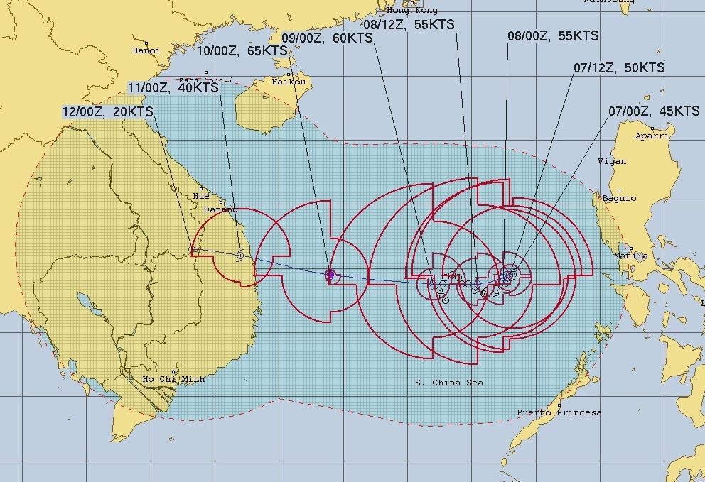 Hải quân Mỹ dự báo vị trí và đường đi của bão số 6.