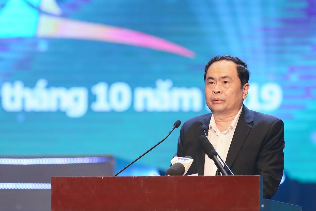 Ông Trần Thanh Mẫn, Bí thư Trung ương Đảng, Chủ tịch Ủy ban Trung ương MTTQ Việt Nam phát biểu khai mạc chương trình