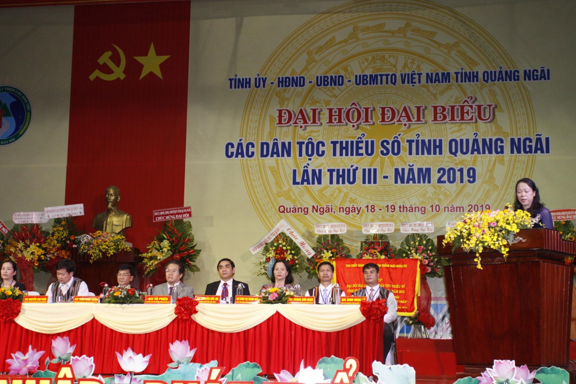 Thứ trưởng, Phó Chủ nhiệm UBDT Hoàng Thị Hạnh phát biểu chỉ đạo Đại Hội