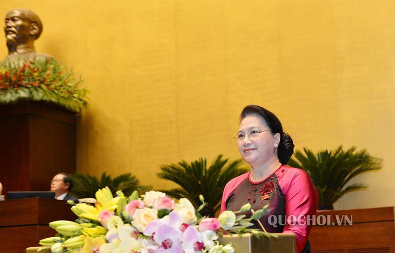 Chủ tịch Quốc hội Nguyễn Thị Kim Ngân phát biểu khai mạc trọng thể Kỳ họp thứ 8, Quốc hội khoá XIV