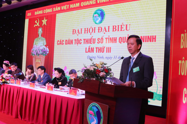 Thứ trưởng, Phó Chủ nhiệm UBDT Phan Văn Hùng Phát biểu tại Đại hội.