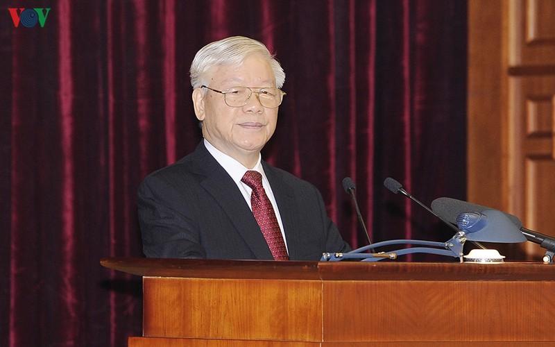 Tổng Bí thư, Chủ tịch nước Nguyễn Phú Trọng phát biểu tại phiên khai mạc Hội nghị Trung ương 11 khóa XII