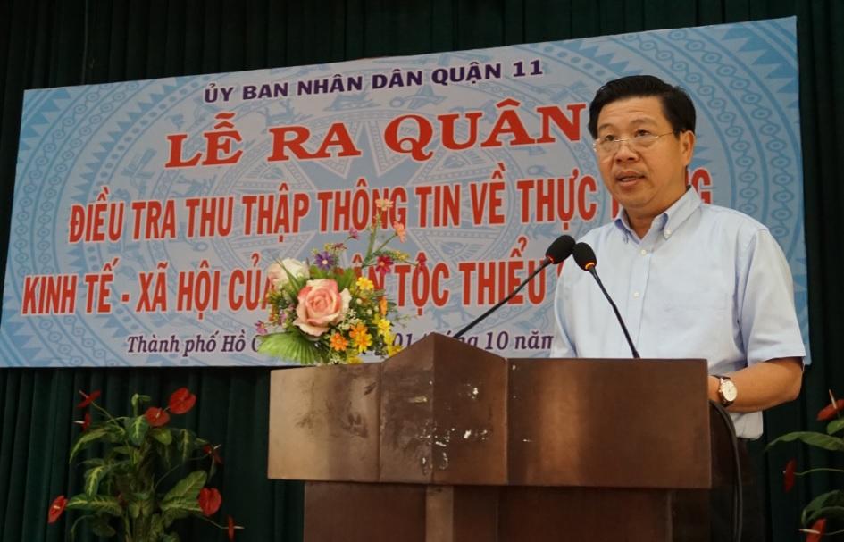 Thứ trưởng, Phó Chủ nhiệm UBDT Lê Sơn Hải phát biểu tại buổi lễ