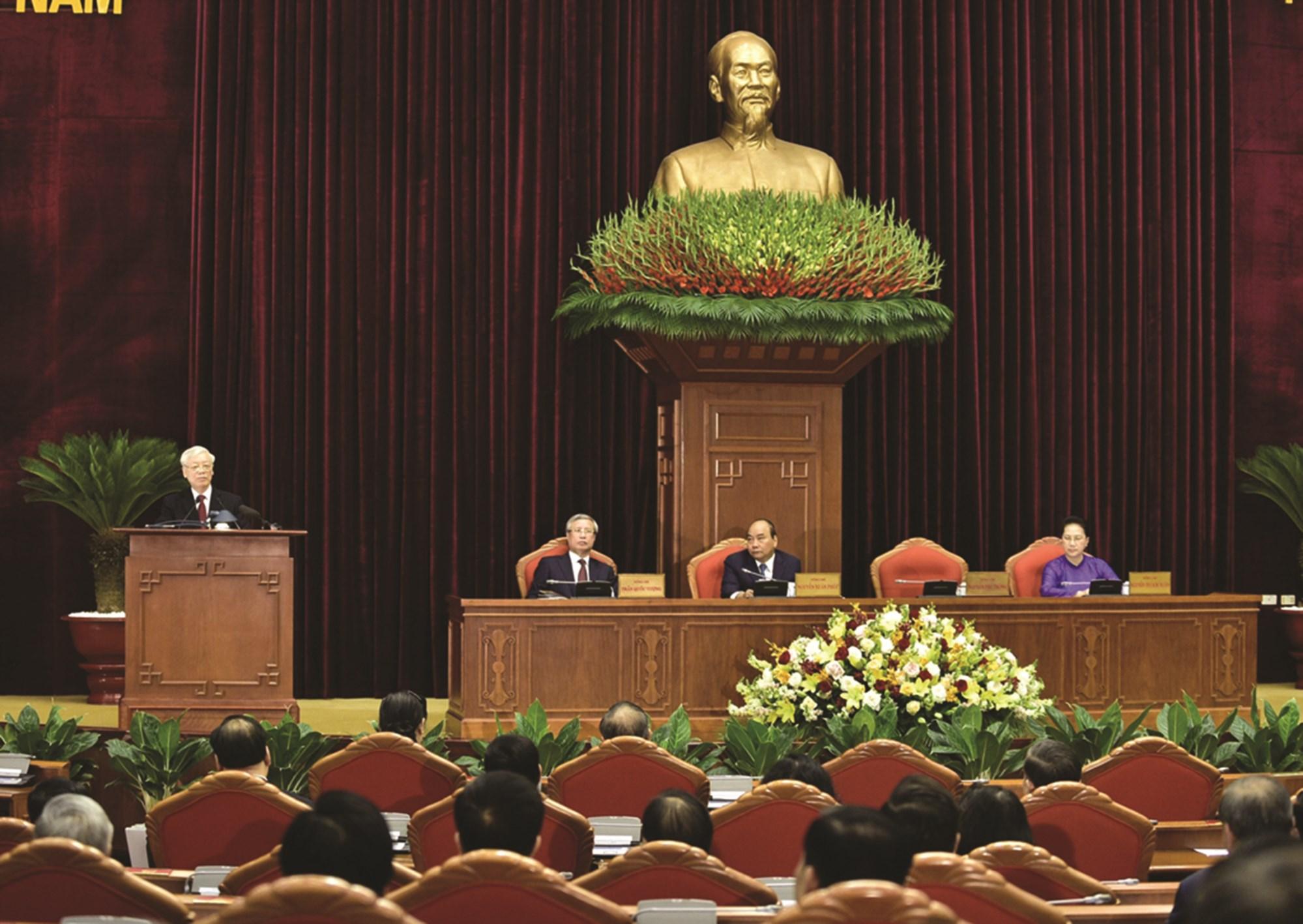 Tổng Bí thư, Chủ tịch nước Nguyễn Phú Trọng phát biểu tại Hội nghị Trung ương 11.