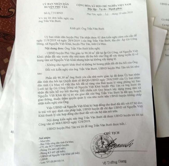Công văn của UBND huyện Phú Tân trả lời đơn kiến nghị của ông Trần Văn Bưởi