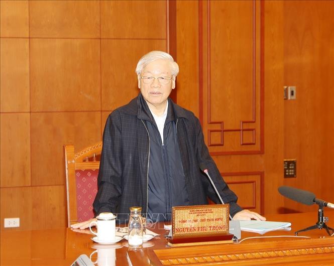 Tổng Bí thư, Chủ tịch nước Nguyễn Phú Trọng, Trưởng Tiểu ban Nhân sự Đại hội XIII của Đảng phát biểu chỉ đạo cuộc họp. Ảnh: Trí Dũng/TTXVN