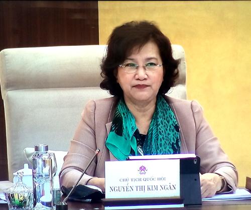Chủ tịch Quốc hội Nguyễn Thị Kim Ngân phát biểu tại phiên họp. Ảnh: VGP/Nguyễn Hoàng