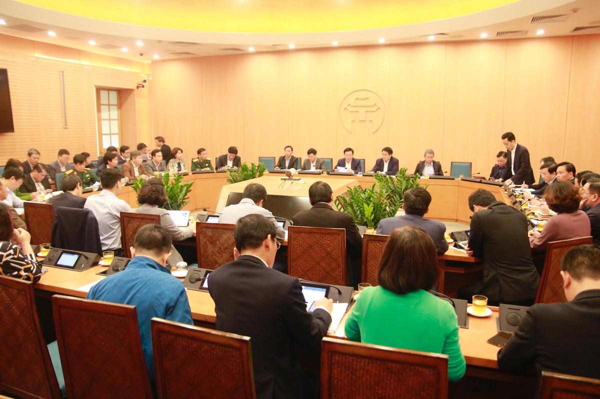 Quang cảnh phiên họp sáng 7/3 của Ban Chỉ đạo phòng chống dịch bệnh COVID-19 TP. Hà Nội. Ảnh: VGP/Gia Huy