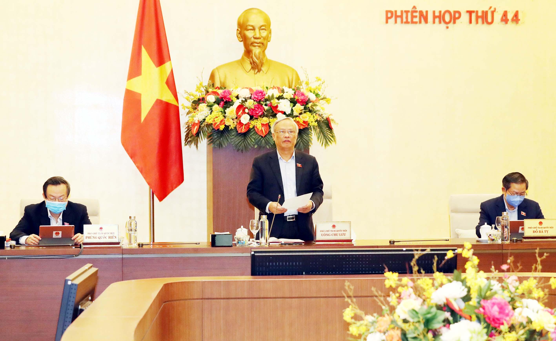 Phó Chủ tịch QH Uông Chu Lưu phát biểu tại phiên họp. Ảnh: VGP/Lê Sơn