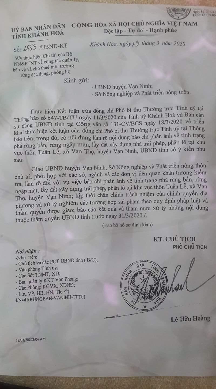 Hàng chục ha rừng bàn ở huyện vạn Ninh (Khánh Hòa) bị xóa xổ: UBND tỉnh chỉ đạo kiểm tra, xử lý nghiêm sai phạm 1