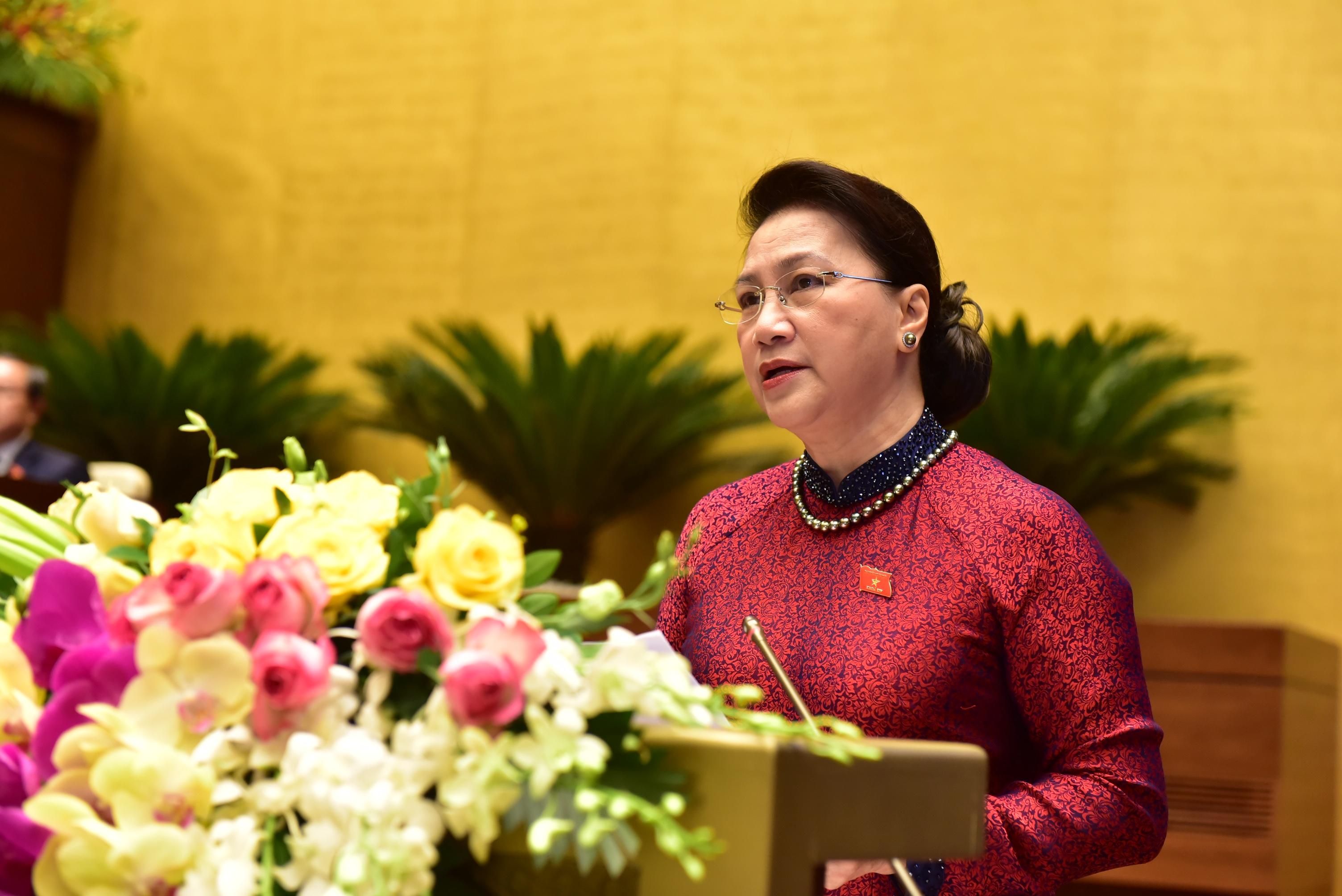 Chủ tịch Quốc hội Nguyễn Thị Kim Ngân phát biểu khai mạc Kỳ họp.