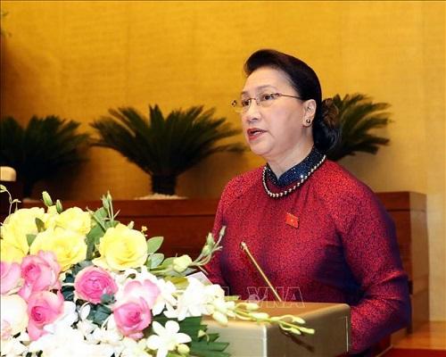 Chủ tịch Quốc hội Nguyễn Thị Kim Ngân phát biểu khai mạc kỳ họp - Ảnh: TTXVN