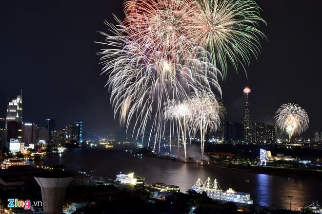 TP. Hồ Chí Minh bắn pháo hoa trong thời khắc đón năm mới