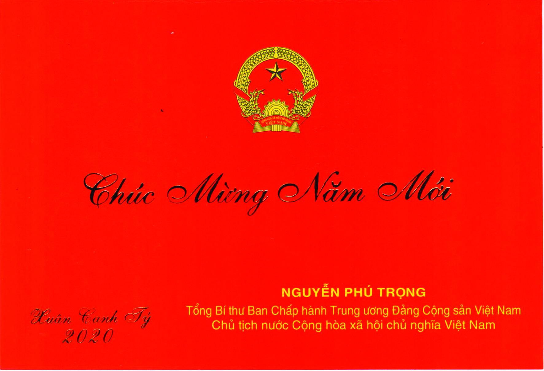 Thiếp chúc mừng năm mới 2020 của Tổng Bí thư, Chủ tịch nước Nguyễn Phú Trọng