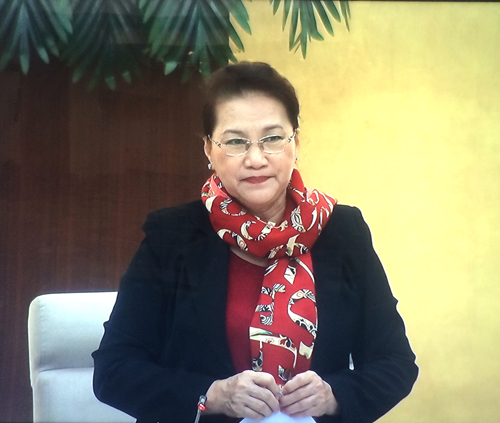 Chủ tịch Quốc hội Nguyễn Thị Kim Ngân phát biểu khai mạc phiên họp. Ảnh: VGP/Nguyễn Hoàng