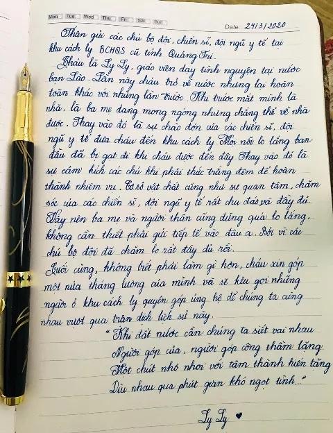 Lá thứ Hoàng Thị Ly Ly vừa viết gửi cho mọi người