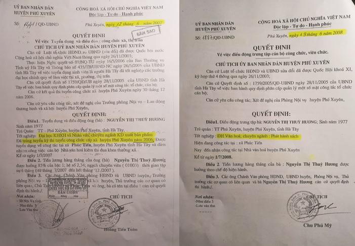 Quyết định tuyển dụng công chức và Quyết định điều động bà Nguyễn Thị Thùy Hương sai lệch thông tin về trình độ học vấn