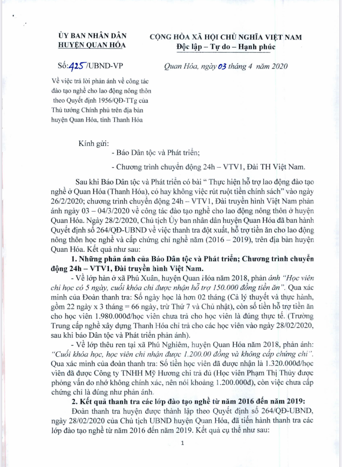 Công văn của UBND huyện Quan Hóa (Thanh Hóa) trả lời phản ánh của các cơ quan báo chí