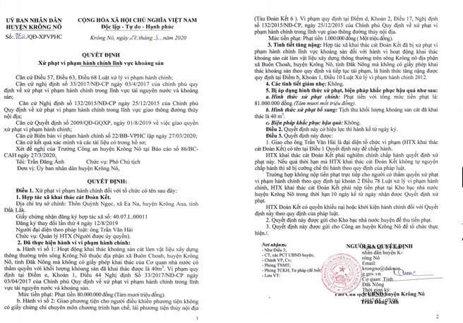 Với hành vi khai thác cát lậu của HTX Đoàn Kết, UBND huyện Krông Nô chỉ xử phạt tiền rồi thả phương tiện vi phạm