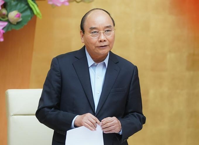 Thủ tướng Nguyễn Xuân Phúc chủ trì cuộc họp Thường trực Chính phủ về phòng chống dịch COVID-19. Ảnh: Quang Hiếu