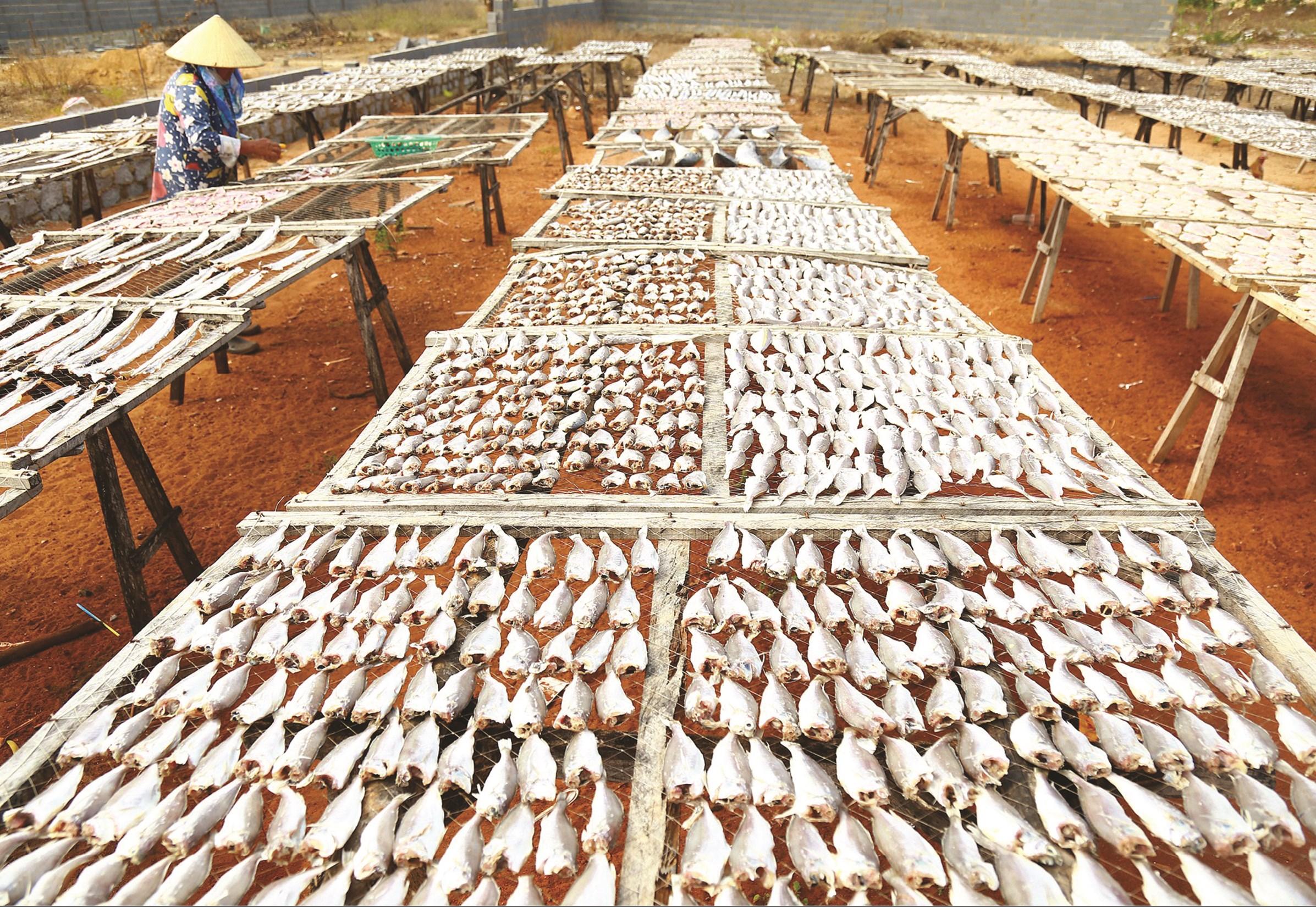 Để cá khô ngon, thơm, vệ sinh an toàn, người dân làng chài Phước Tỉnh đeo găng tay, khẩu trang mỗi khi trở cá giữa trưa nắng.