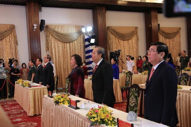 Chủ tịch Quốc Hội Nguyễn Thị Kim Ngân, Phó Thủ tướng Thường trực Chính phủ Trương Hòa Bình, Bí thu Thành ủy TPHCM Nguyễn Thiện Nhân và nhiều lãnh đạo cấp cao tham dự lễ kỷ niệm
