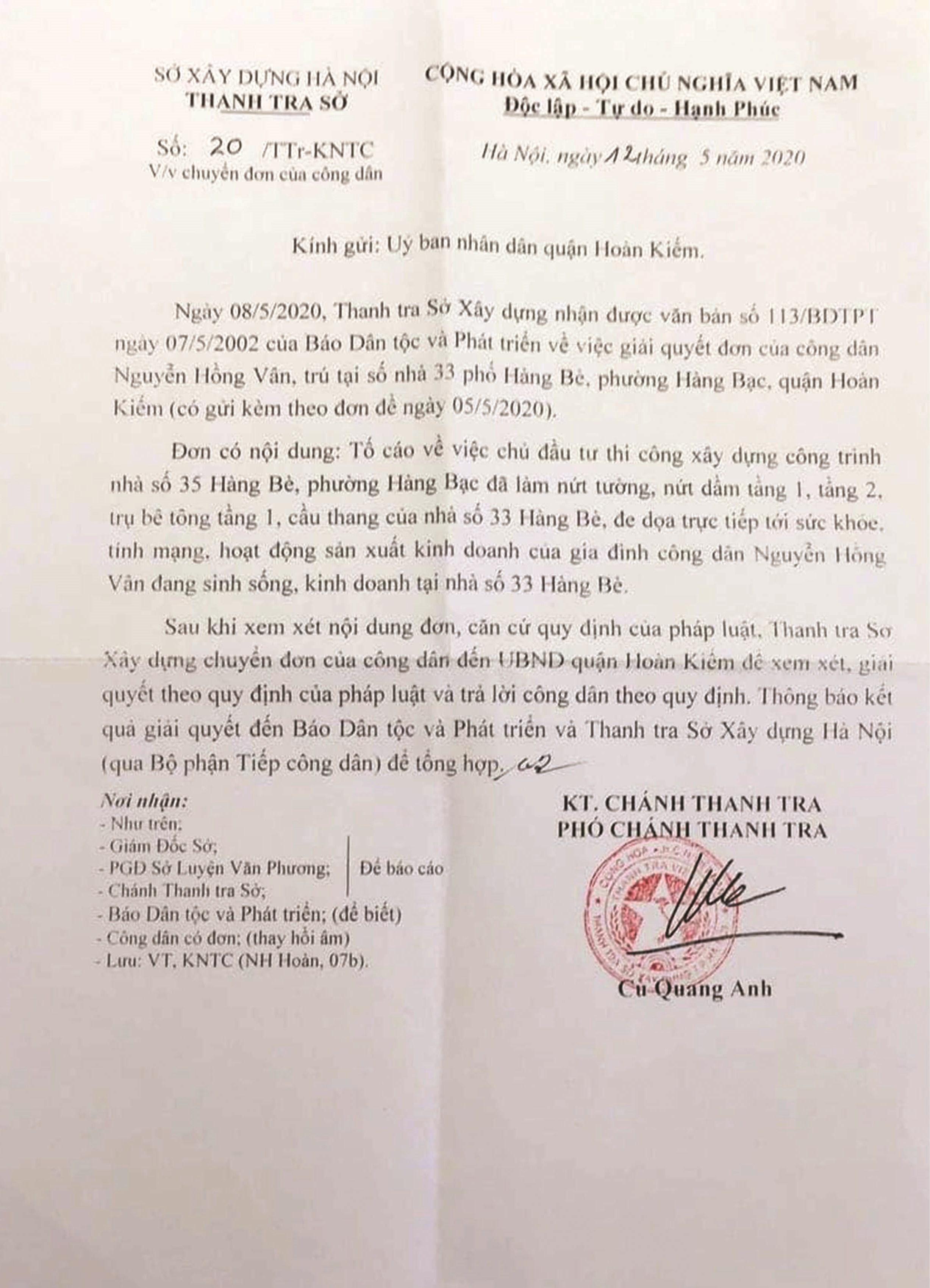 Công văn của Thanh tra Sở Xây dựng TP. Hà Nội yêu cầu UBND Quận Hoàn Kiếm gửi thông báo kết quả giải quyết đến Báo Dân tộc và Phát triển