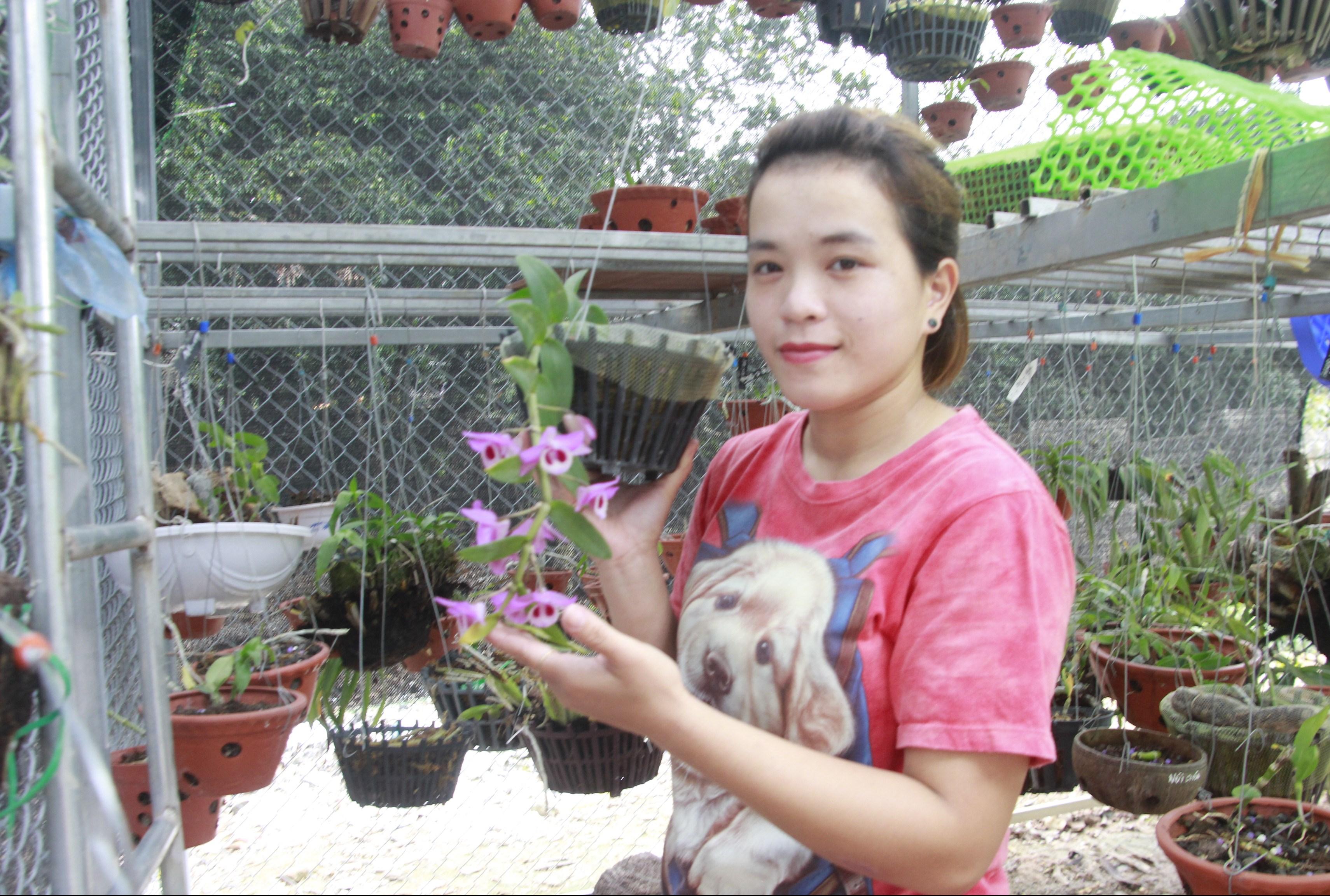 Chị Hoàng Thùy Linh ở thôn Trại Trầm với mô hình trồng hoa lan.