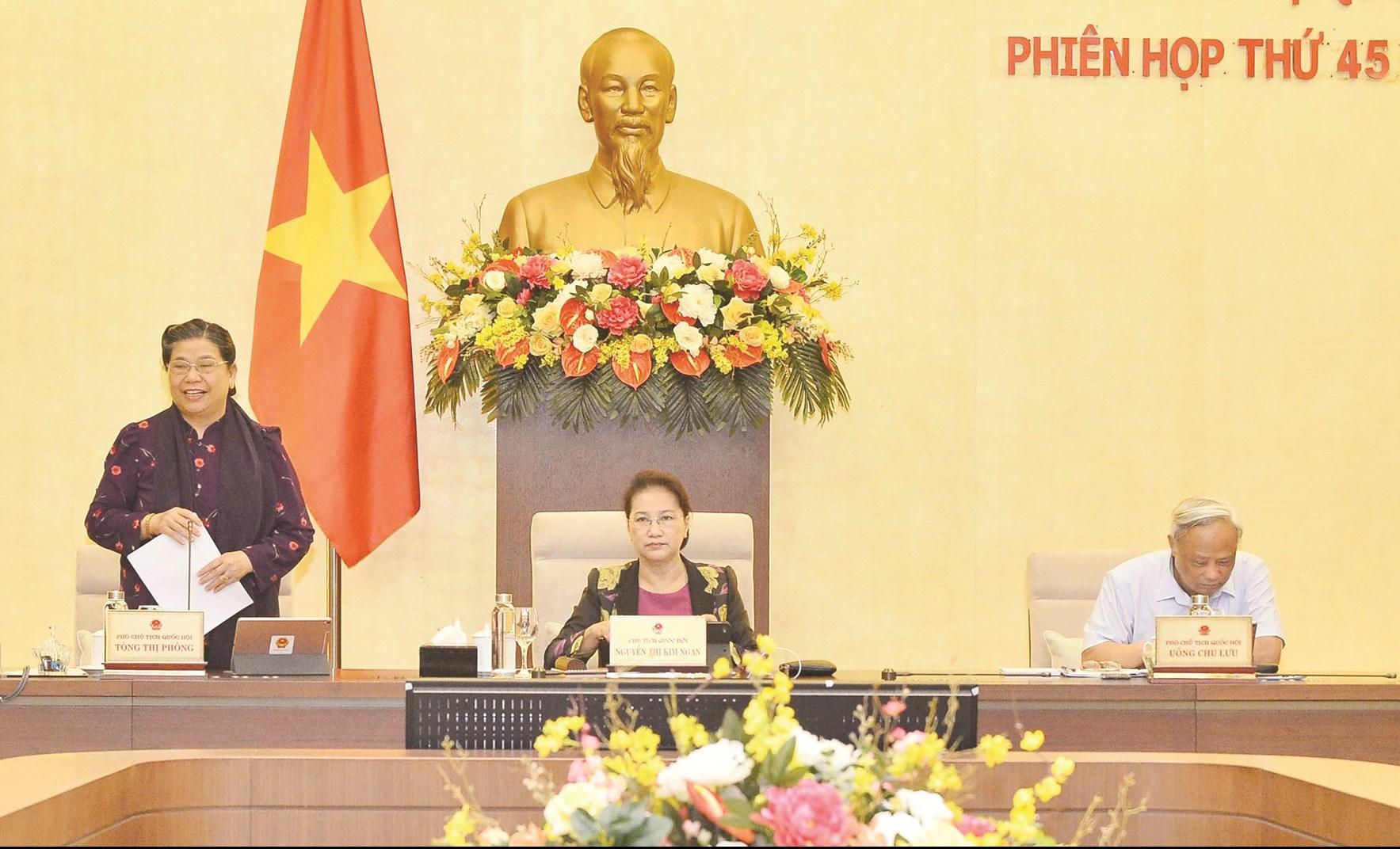 Phó Chủ tịch Thường trực Quốc hội Tòng Thị Phóng chủ trì phiên họp. Ảnh: Trọng Đức - TTXVN