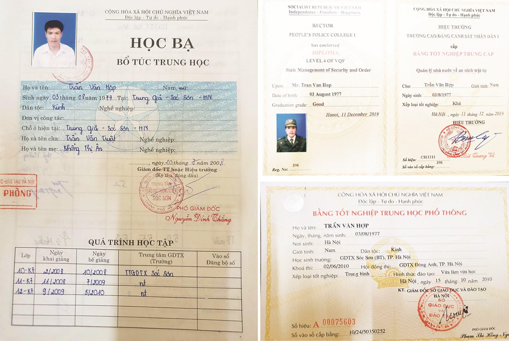 Các văn bằng chứng chỉ của ông Trần Văn Hợp