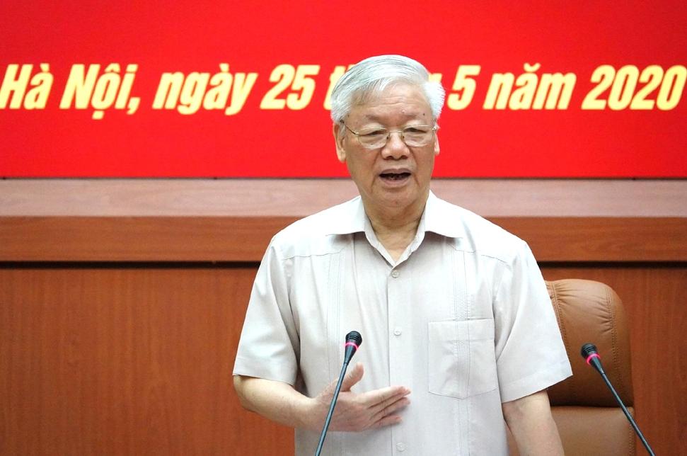 Tổng Bí thư, Chủ tịch nước, Bí thư Quân ủy Trung ương Nguyễn Phú Trọng phát biểu tại hội nghị.