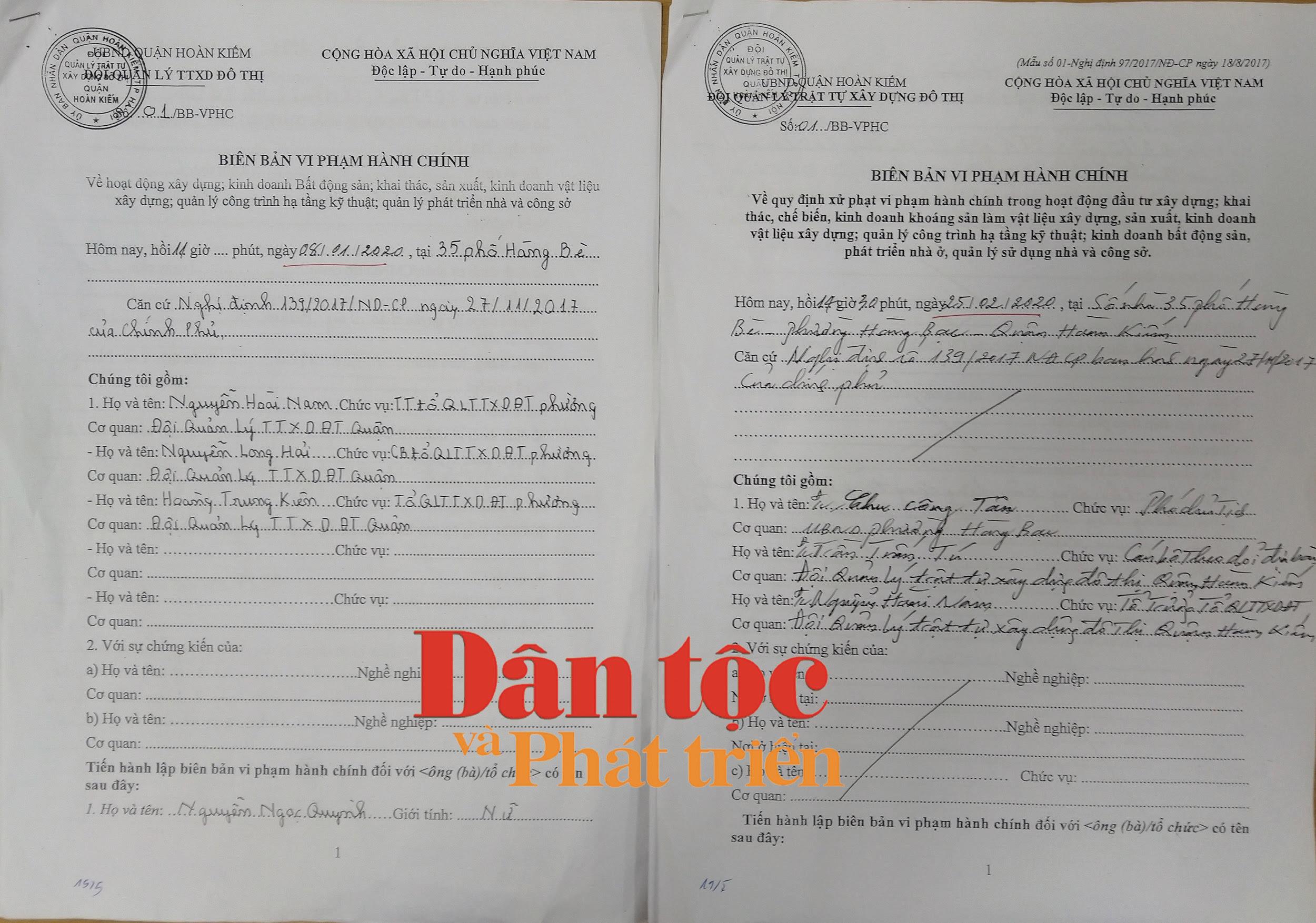 Hai BBVPHC cùng số, nhưng khác ngày, khác nội dung của Tổ QLTTXDĐT phường Hàng Bạc