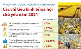 Quốc hội thông qua các chỉ tiêu kinh tế - xã hội chủ yếu năm 2021