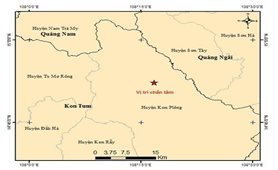 Động đất có độ lớn 3.9 xảy ra tại huyện Kon Plông, tỉnh Kon Tum