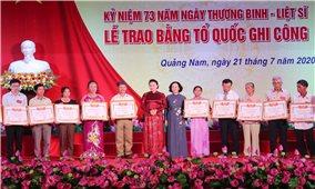Chủ tịch Quốc hội Nguyễn Thị Kim Ngân dự Lễ trao Bằng Tổ quốc ghi công tại tỉnh Quảng Nam