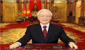 Tổng Bí thư, Chủ tịch nước Nguyễn Phú Trọng chúc mừng Tổng Bí thư Lào