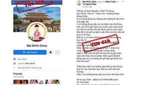 Giả mạo tài khoản Facebook chùa Bái Đính kêu gọi từ thiện