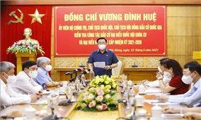 Chủ tịch Quốc hội Vương Đình Huệ kiểm tra công tác bầu cử tại Bắc Giang