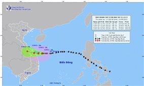 Dự báo tối nay bão số 5 đi vào đất liền các tỉnh Trung Trung Bộ